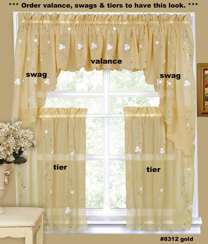 Daisy Embroidery Kitchen Curtain Valance Tiers Or Swags