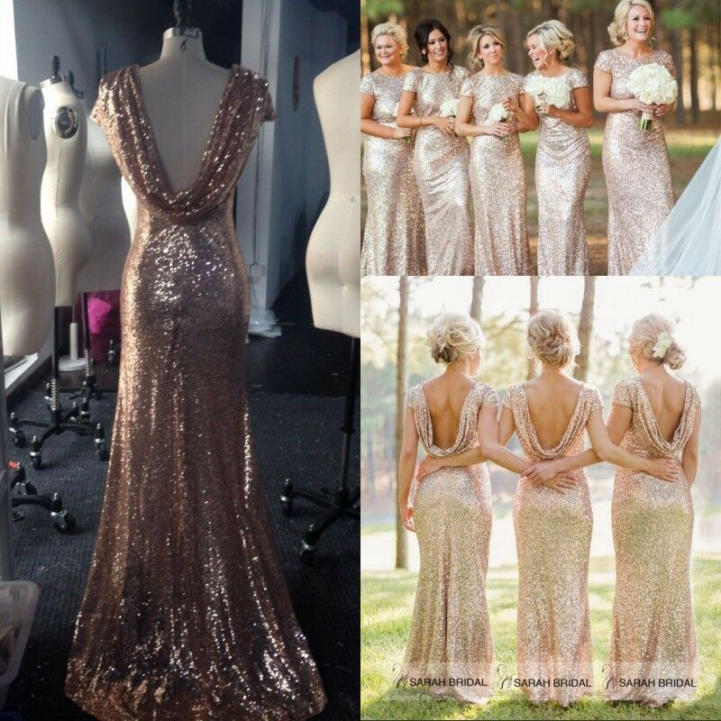 Sequin long bridesmaid dresses plus size formal wedding for Plus size wedding party dresses