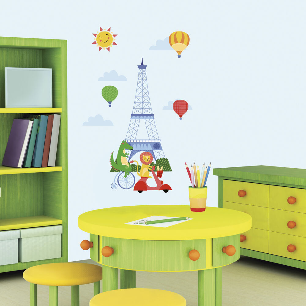 new animals in paris giant wall decals baby nursery stickers kids room decor ebay. Black Bedroom Furniture Sets. Home Design Ideas