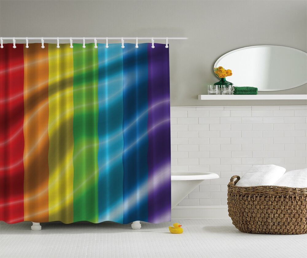 Bright rainbow colors fabric shower curtain digital art for Colorful bathroom accessories