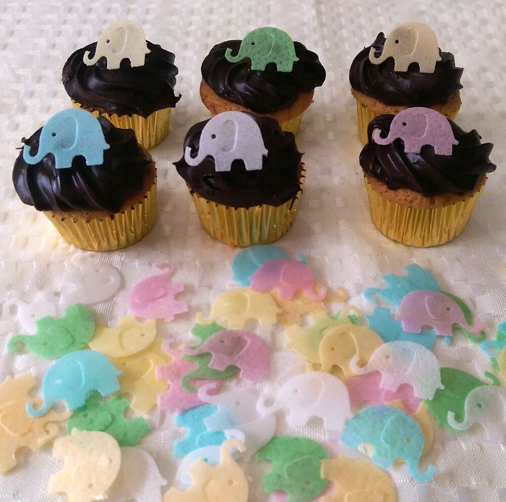 40 edible rice paper mini elephant baby shower cupcake for Baby shower cupcake picks decoration