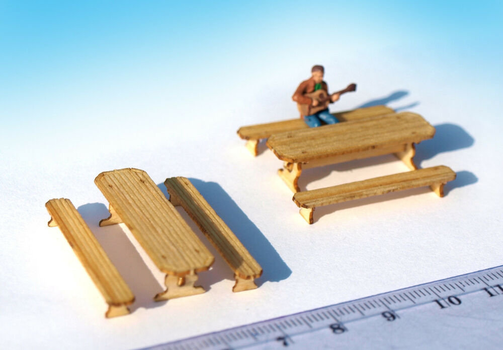 Miniature table bench furniture set ho oo scale laser Scale model furniture