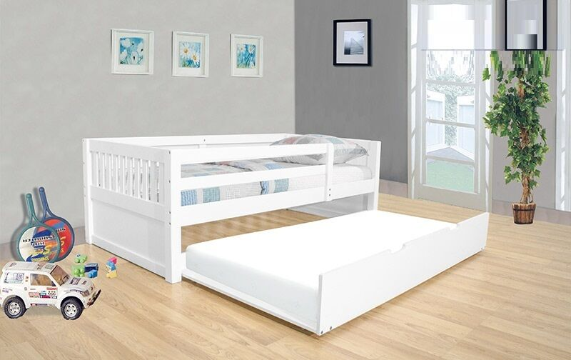 Youth Twin Day Bed Trundle White Finish Bedroom Furniture EBay