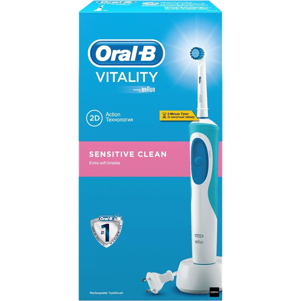 oral b sensitive clean vitality electric rechargeable power toothbrush by braun ebay. Black Bedroom Furniture Sets. Home Design Ideas