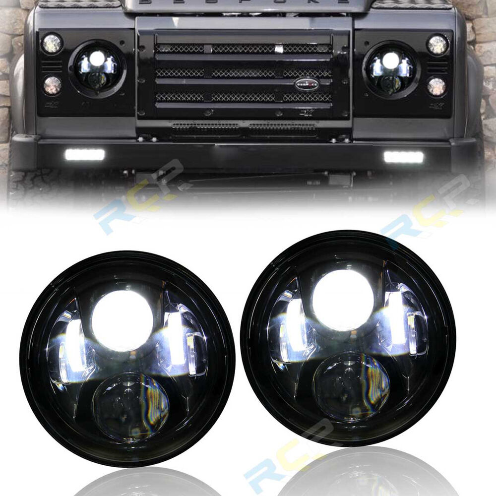 2x 7 Quot Inch Round 6 Led Headlights For Land Rover Defender