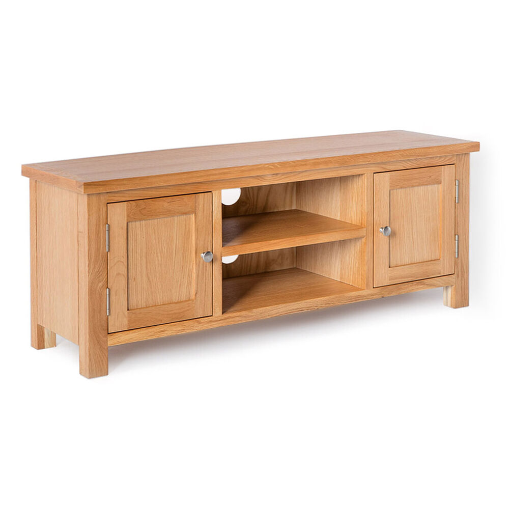 london oak tv stand brand new plasma tv cabinet solid wood large tv unit ebay. Black Bedroom Furniture Sets. Home Design Ideas