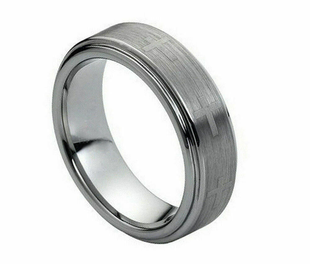 7mm men 39 s or ladies tungsten carbide brushed with crosses