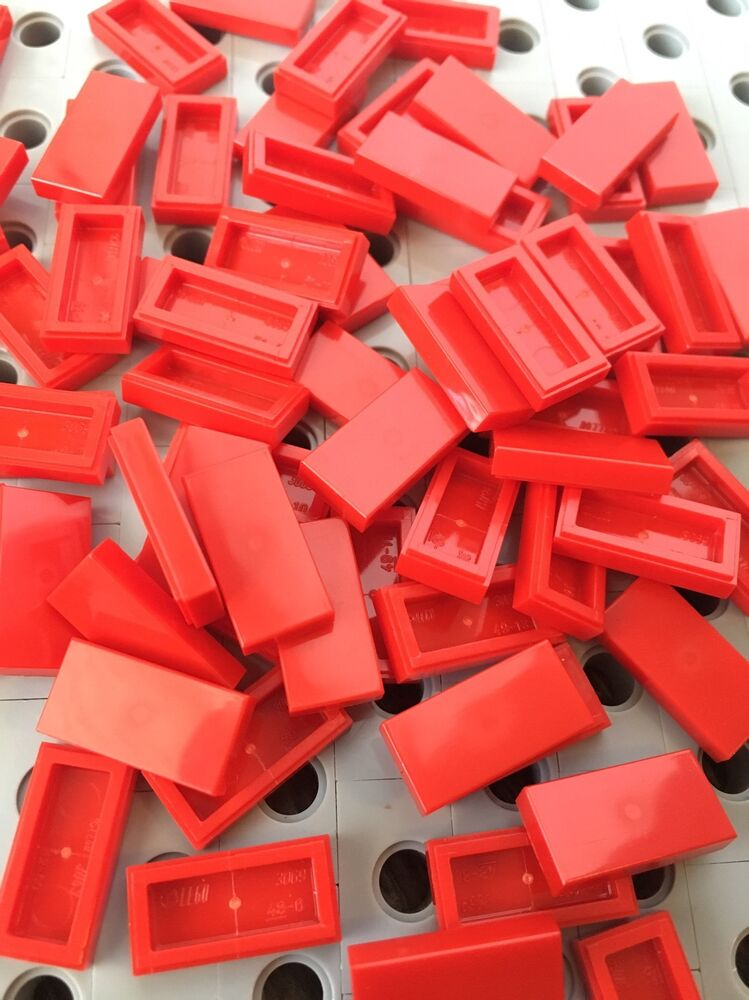 Lego Red 1x2 Flat Tiles Smooth Finishing Tile Buildings