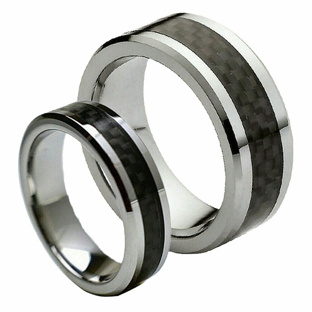 His her39s 8mm 6mm tungsten carbide black carbon fiber for Tungsten carbide wedding ring sets