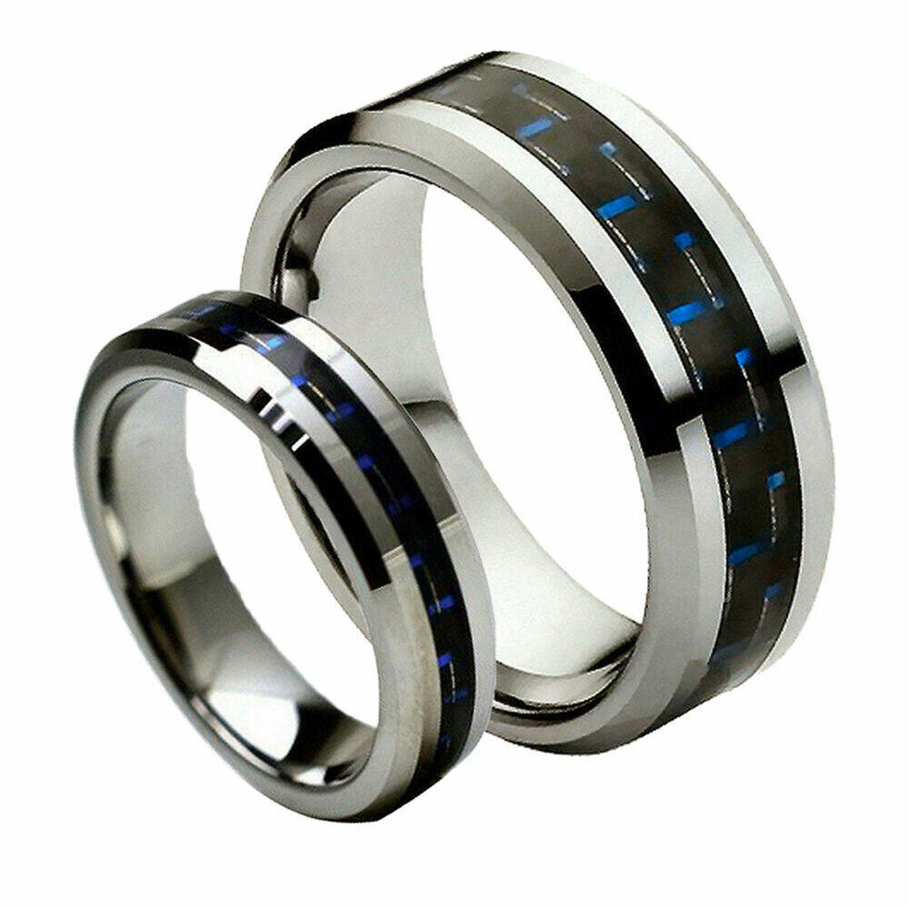 His hers 8mm 6mm tungsten carbide blue black carbon fiber for Tungsten carbide wedding ring sets
