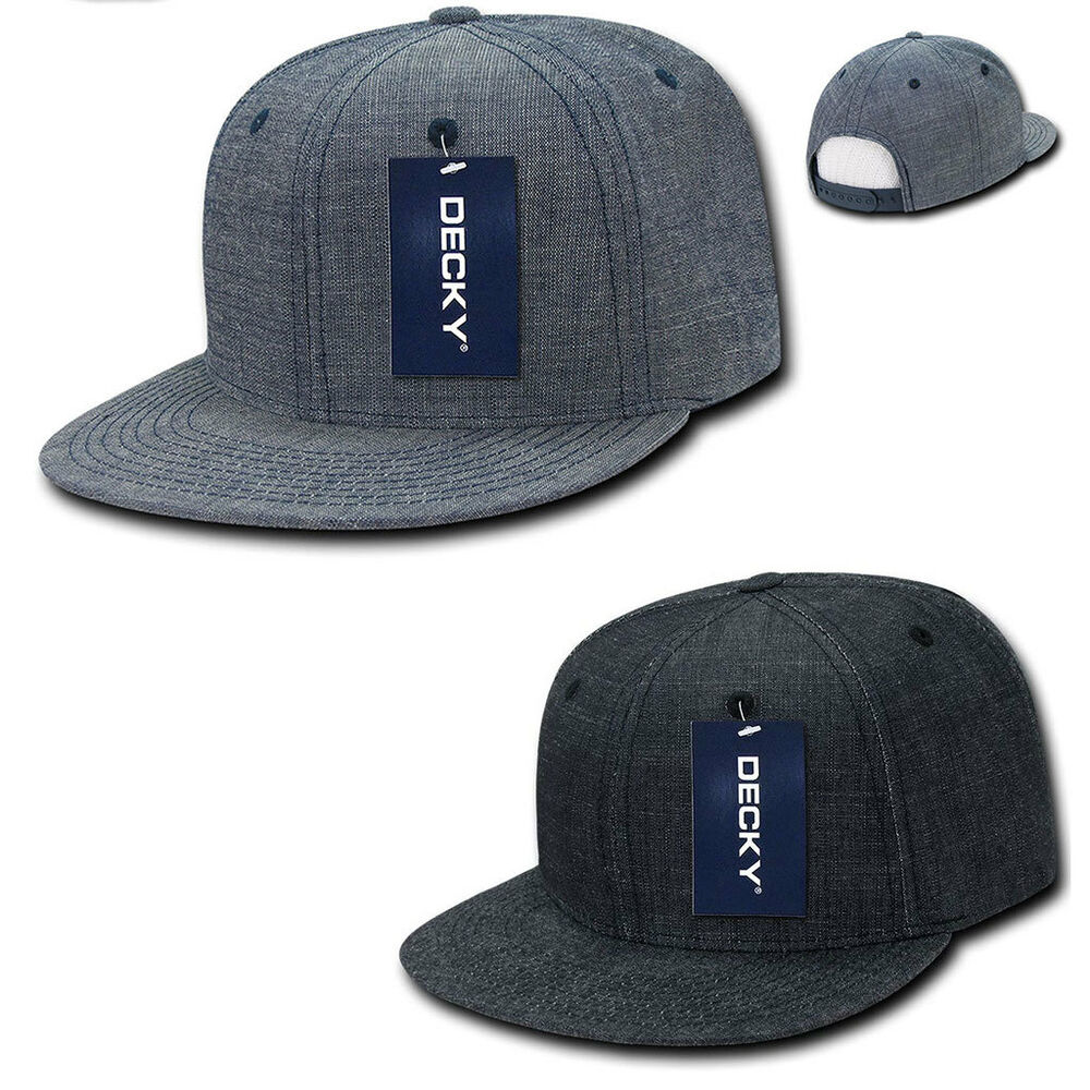 Details about Decky Washed Denim Snapback 100% Cotton 6 Panel Flat Bill  Hats Caps fd4007fc08bc
