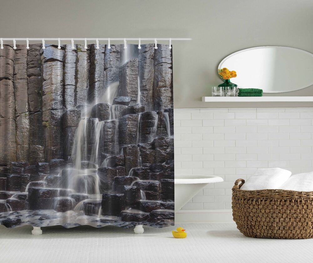 Gray rocky waterfall stream nature fabric shower curtain for Nature inspired shower curtains