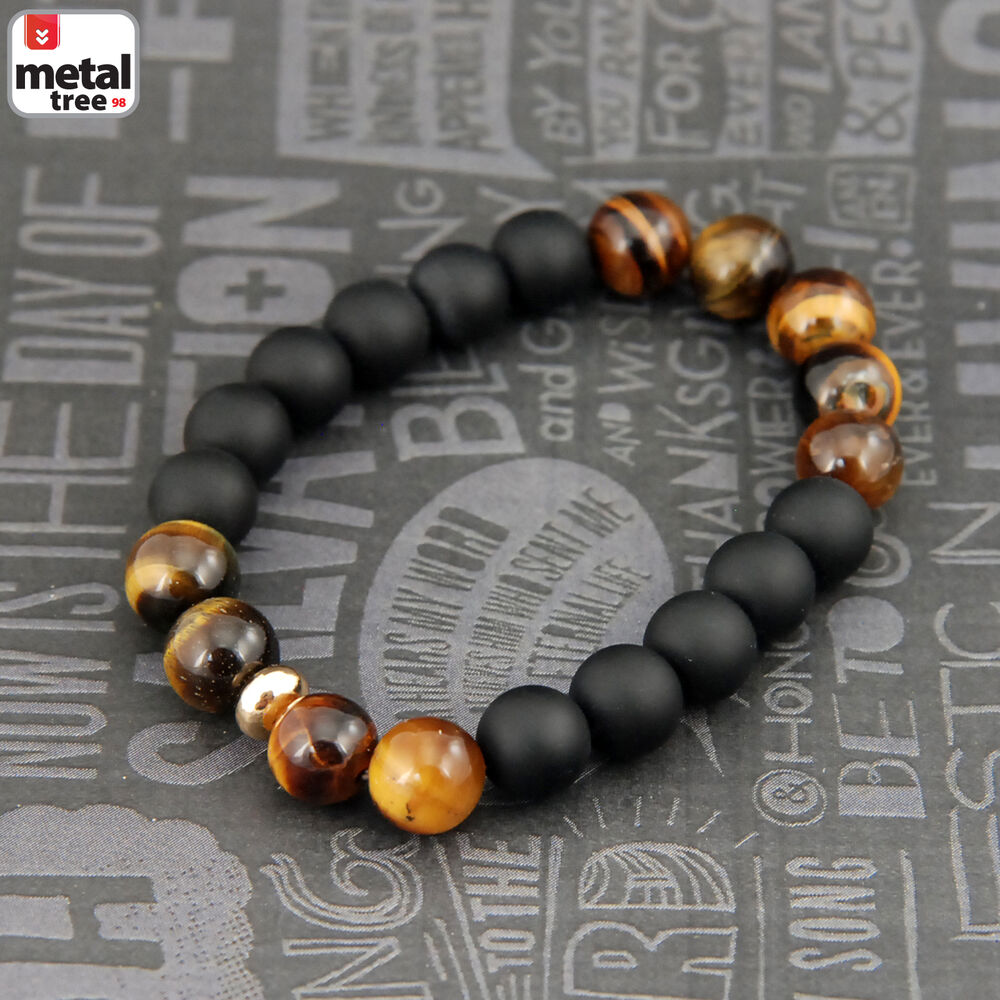 Men S Hip Hop Tiger S Eye Stone Gems Beads Elastic Stretch