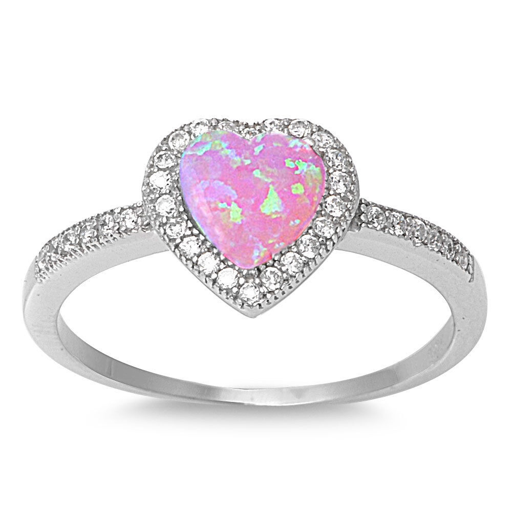 Sterling silver 925 heart design pink lab opal engagement for Wedding rings with pink