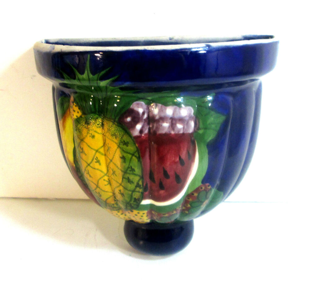 Hand painted colorful mexican glazed ceramic wall planter for Can ceramic be painted