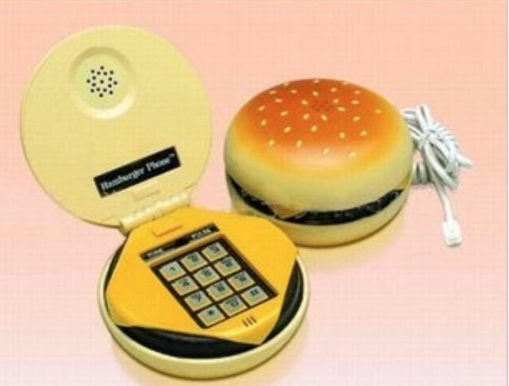 Funky dial retro cord hamburger telephone phone vintage for Funky household gifts