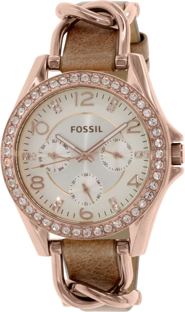 fossil women 39 s riley es3466 rose gold leather quartz watch 796483064980 ebay. Black Bedroom Furniture Sets. Home Design Ideas