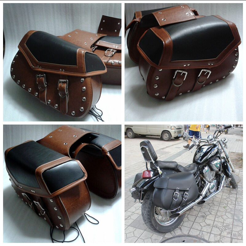 Braiding Studded Motorcycle Leather Saddlebags Motorbike