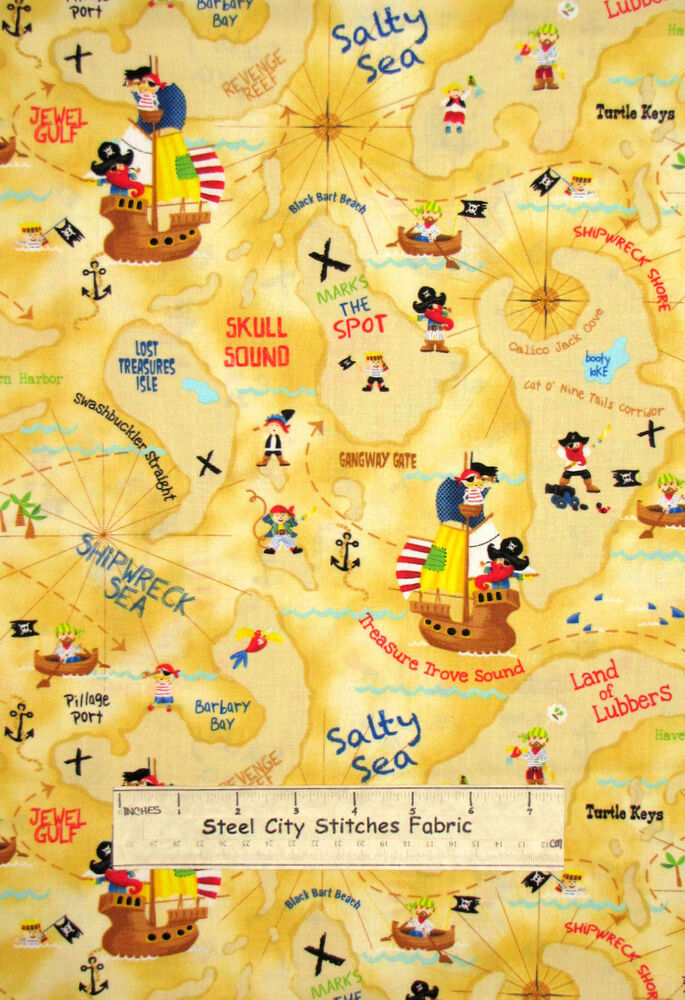 Timeless treasures pirate kids ship sail map island 1354 for Kids pirate fabric