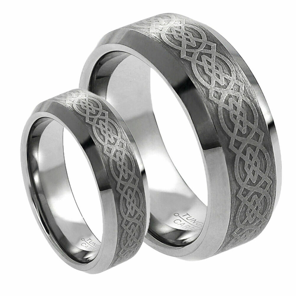 Tungsten Carbide Wedding Ring Sets His Her39s 8mm 6mm Tungsten Carbide Celtic Knot Design