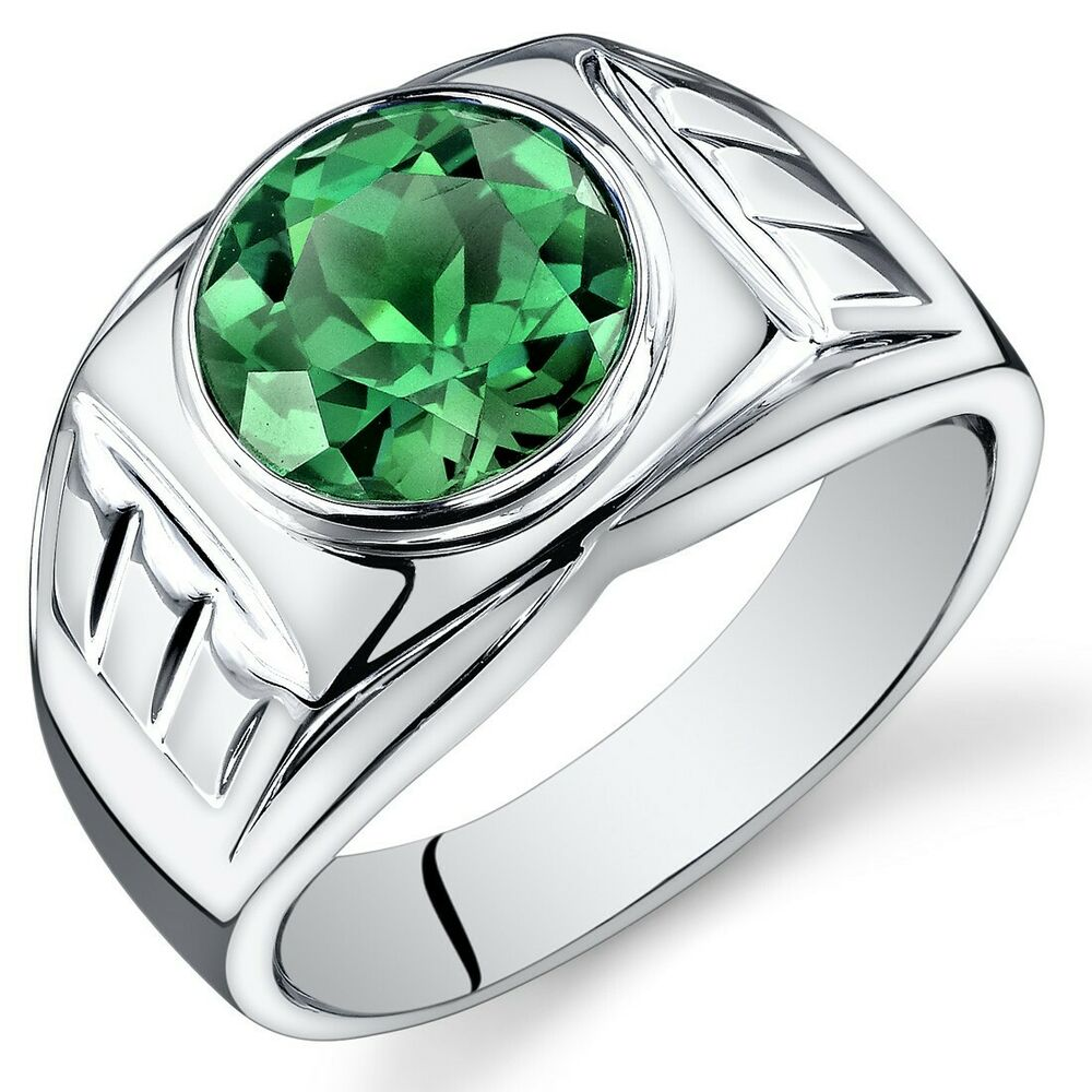 mens 4 5 cts round cut emerald sterling silver ring sizes. Black Bedroom Furniture Sets. Home Design Ideas
