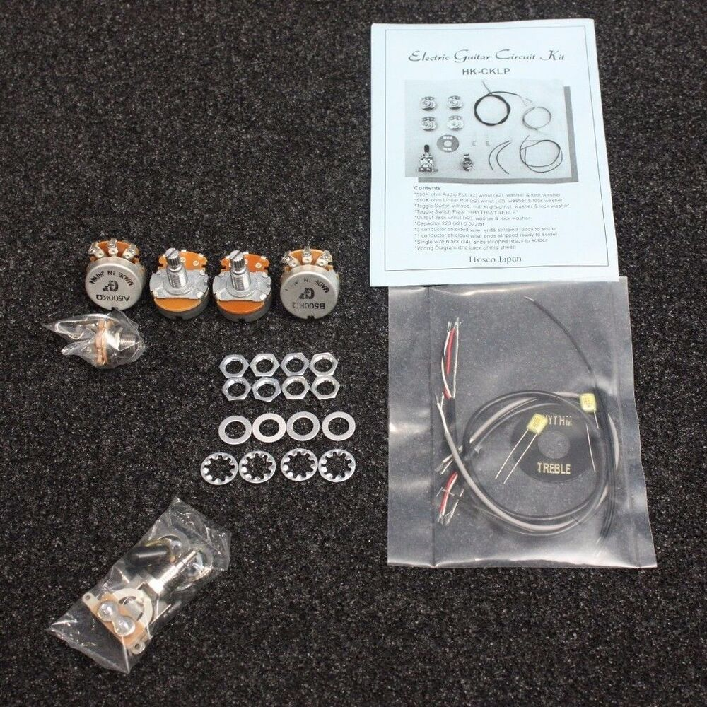 complete guitar circuit wiring kit for gibson style guitar les paul sg blk ebay. Black Bedroom Furniture Sets. Home Design Ideas