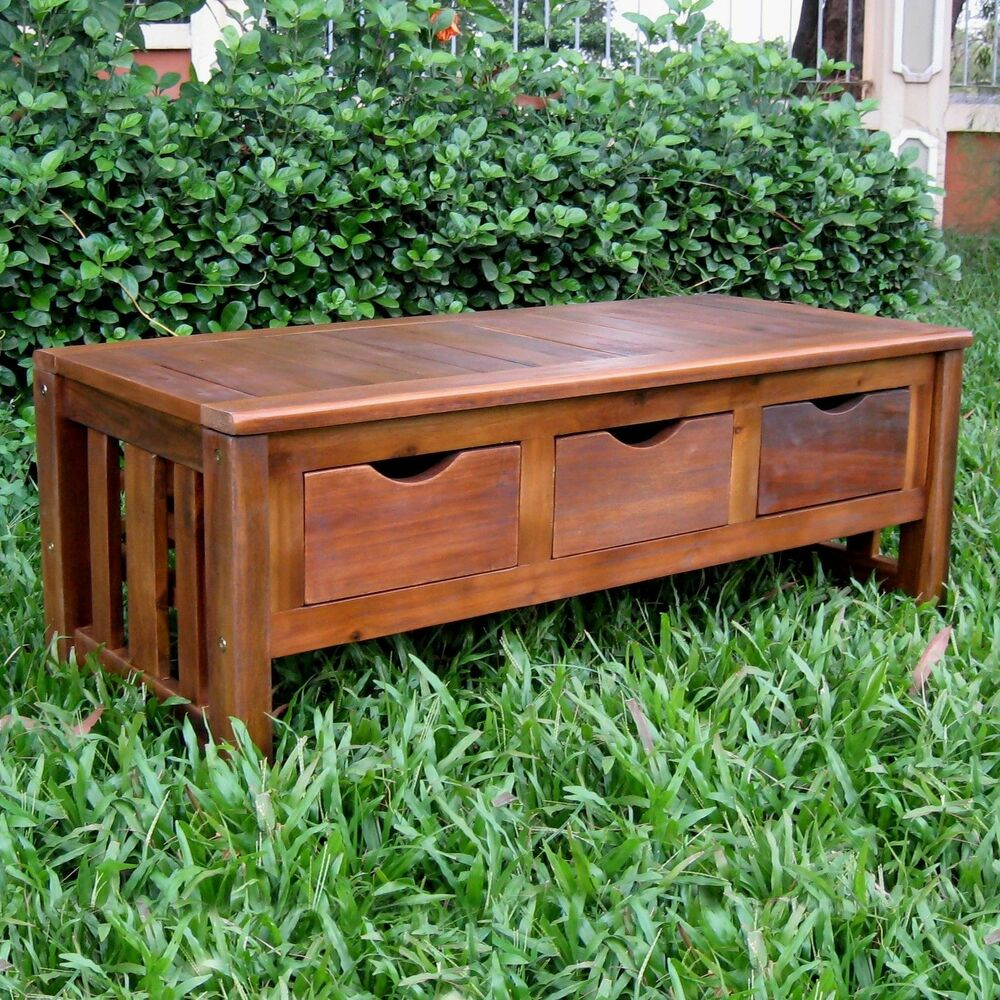International caravan acacia 3 drawer storage bench patio lawn garden furniture ebay Storage bench outdoor