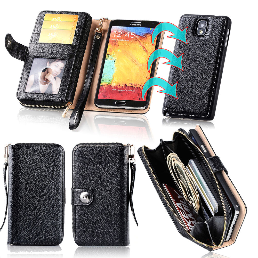 For Samsung Galaxy Note 3 4 Magnet Zip Coins Wallet Real ...