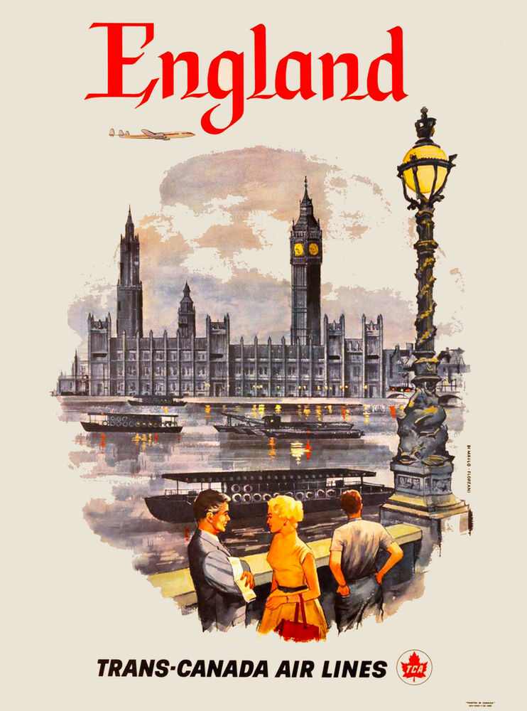 London by Clipper England Great Britain Vintage Travel ...