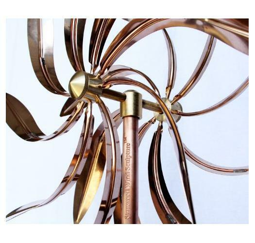 New Stanwood Wind Sculpture Kinetic Copper Dual Spinner