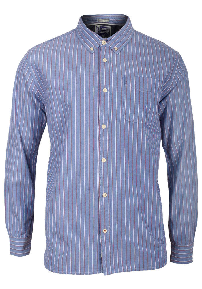 Mens debenhams long sleeve blue striped button collar for Three button collar shirts