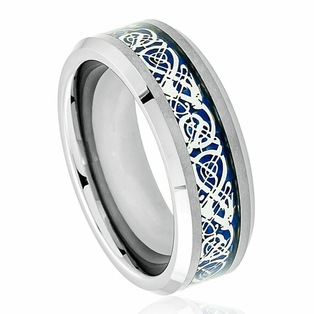 mens tungsten wedding ring 8mm men s or ladie s tungsten carbide celtic knot 5804