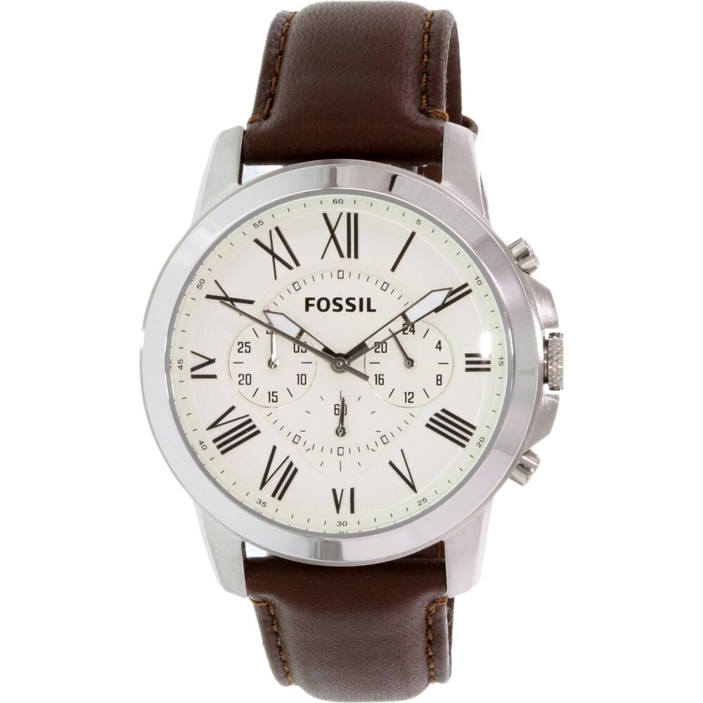 Fossil men 39 s grant fs4735 brown leather quartz fashion watch ebay for Leather watch for men