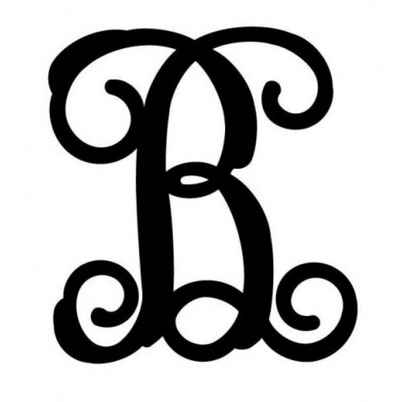 Large black metal letters cursive vine monogram font for Large metal monogram letters