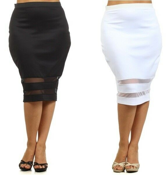 plus sheer mesh panels inset below knee pencil midi skirt