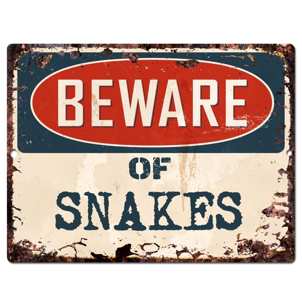 Pp0956 Beware Of Snakes Plate Rustic Chic Sign Home Store