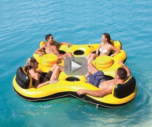 Inflatable 4 Person Island Floating Raft River Lake Pool
