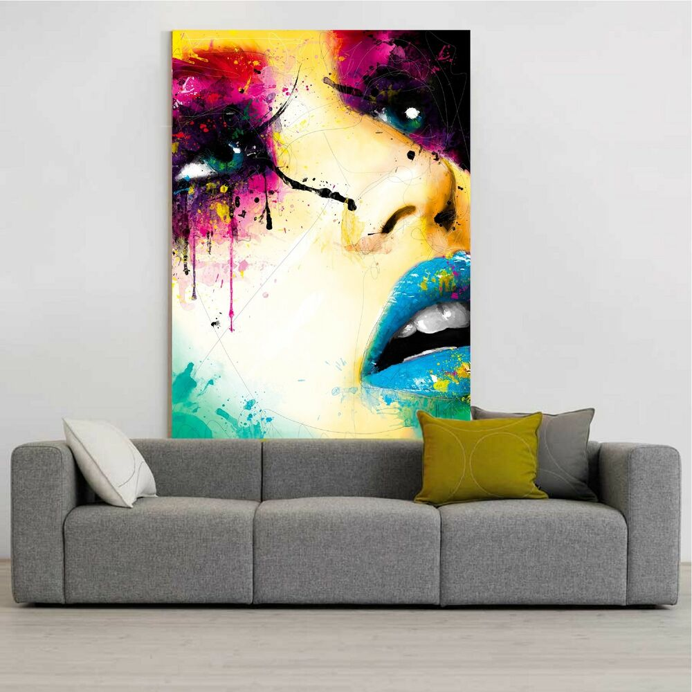 xxl bild 130x90x5 popart gem lde frau abstrakt leinwand canvas ikea modern art ebay. Black Bedroom Furniture Sets. Home Design Ideas
