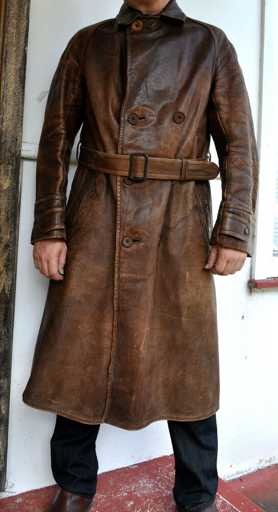 Rare Wwi Antique Vintage Full Grain Leather Trench Coat