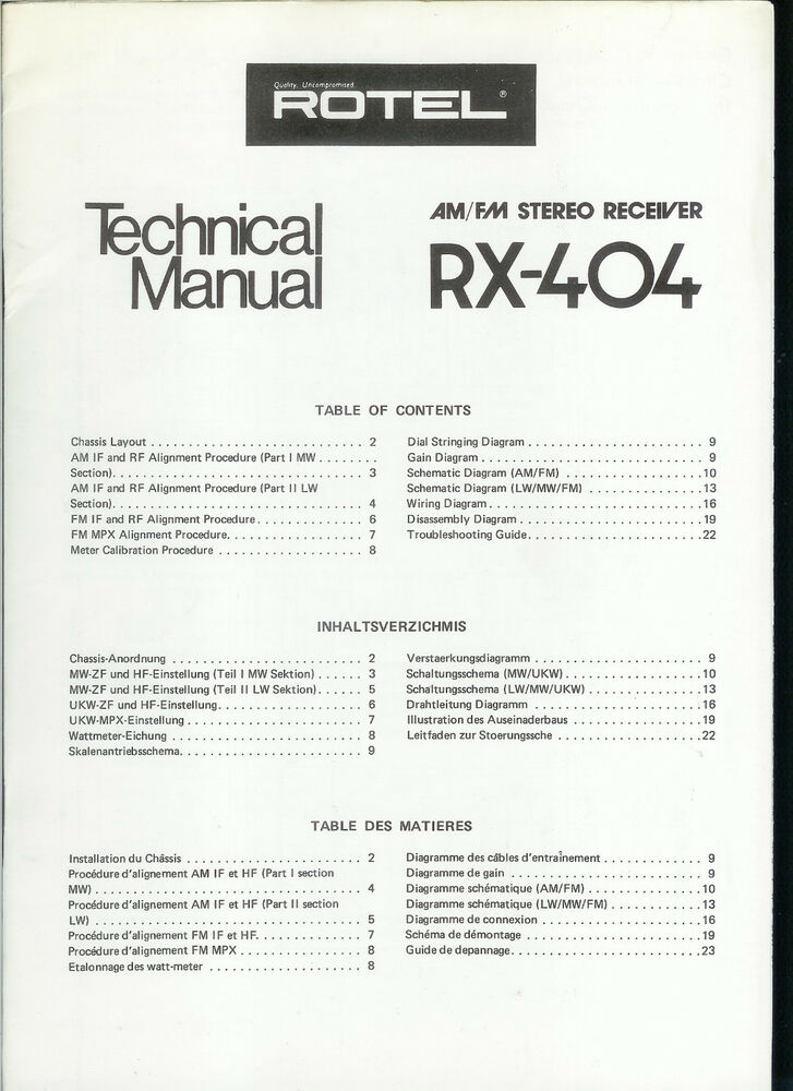 rare original factory rotel rx 404 am fm stereo receiver service manual |  ebay