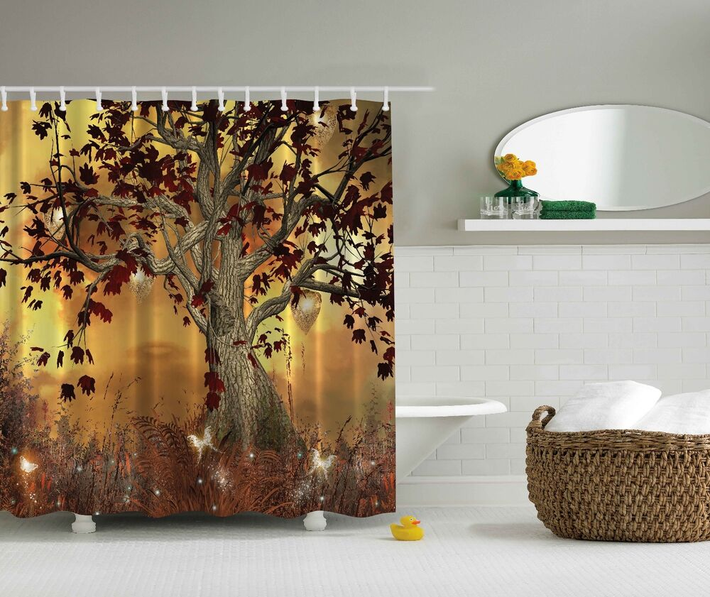 Mystical Magical Forest Tree Fairy Fabric Shower Curtain