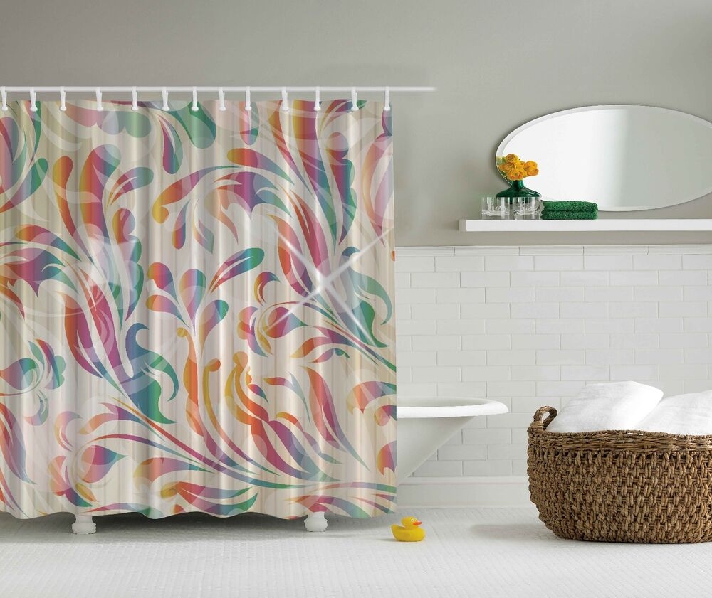 Pink Purple Blue Paisley Design Fabric Shower Curtain