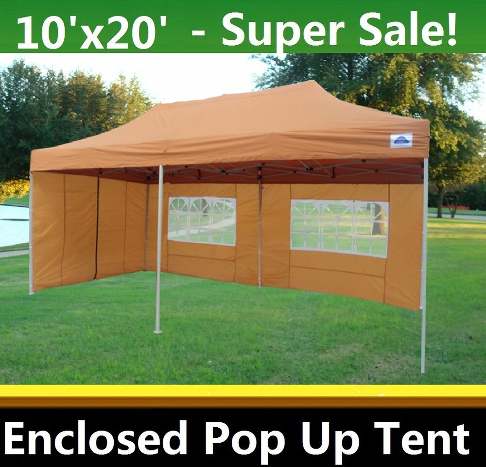 10 39 x20 39 enclosed pop up canopy party folding tent gazebo burnt orange e model ebay - Enclosed gazebo models ...
