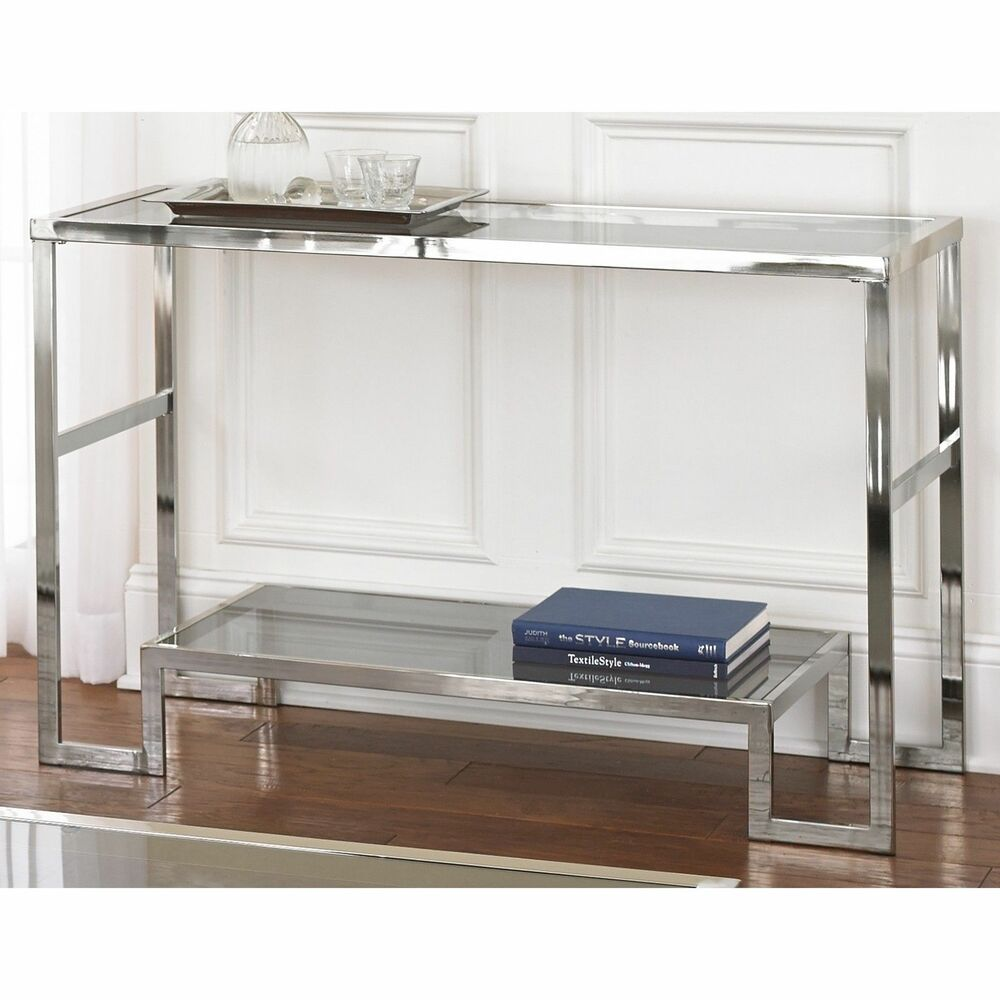 Cordele Chrome And Glass Sofa Table Furniture Storage Decor Accent Living Room Ebay