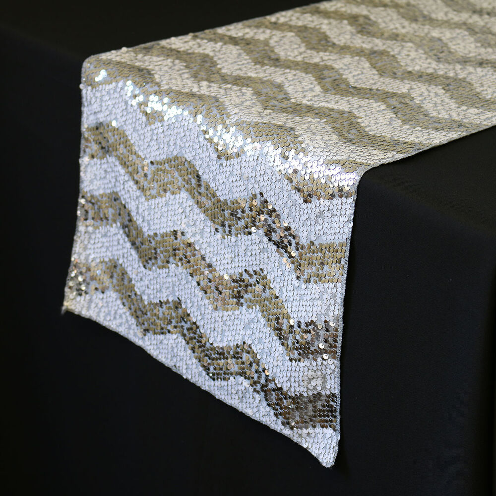 14 x 108 inch chevron sequin table runners white and. Black Bedroom Furniture Sets. Home Design Ideas
