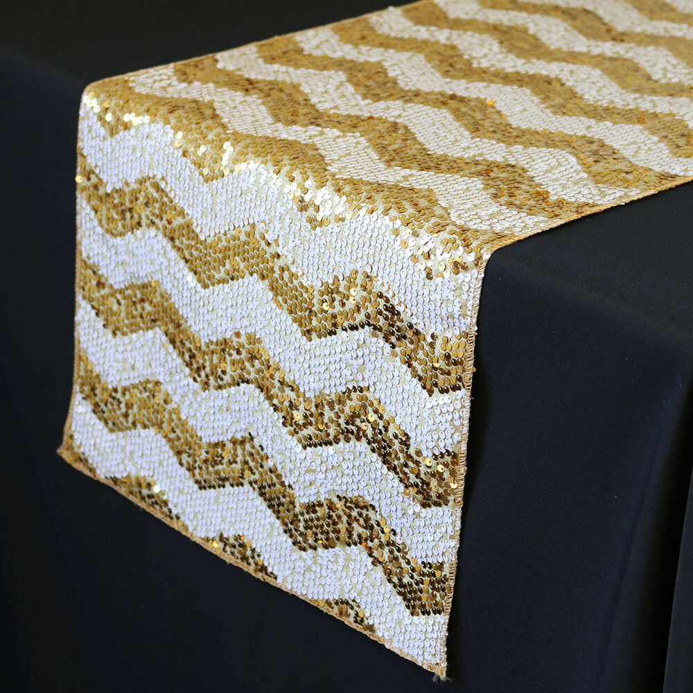 ycc linen 14 x 108 inch chevron sequin table runner white and gold ebay. Black Bedroom Furniture Sets. Home Design Ideas