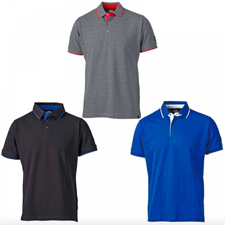 Dickies anvil polo shirt black blue grey small 3xl for Work polo shirts with logo