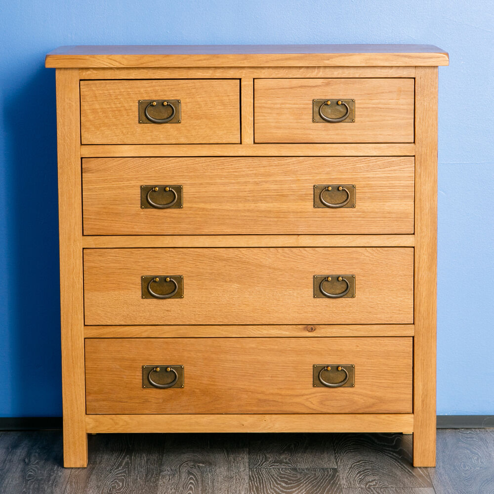Surrey oak small chest of drawers over solid wood