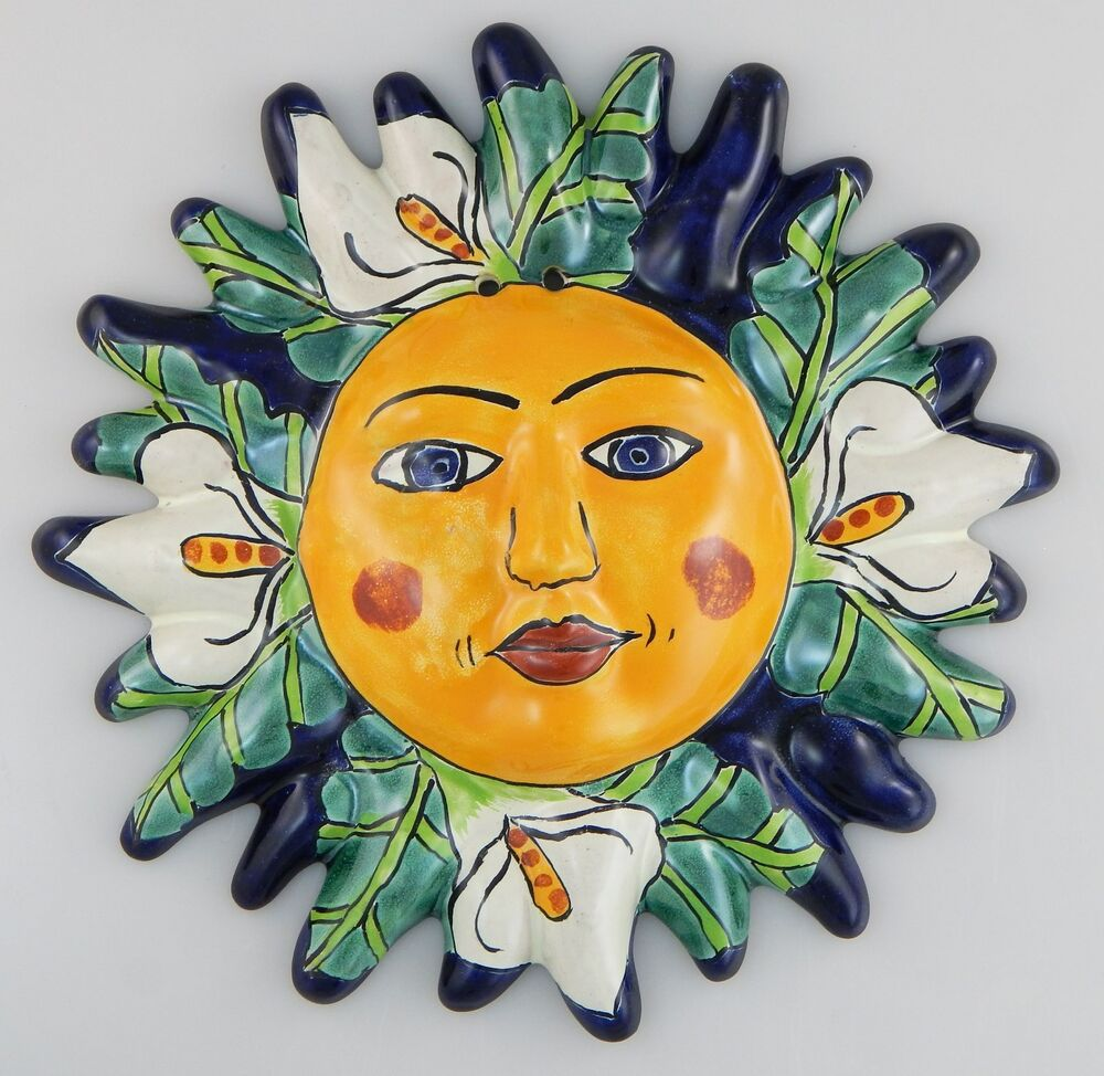 Mexican Talavera Ceramic Sun Face Wall Decor Hanging