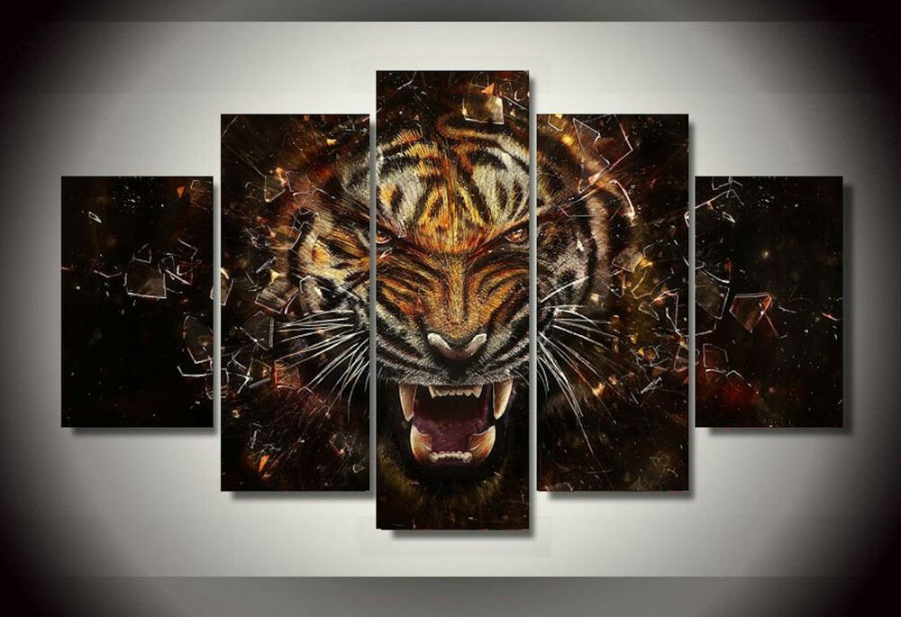 Framed Pictures Canvas Prints Smart Eyes Face Tiger